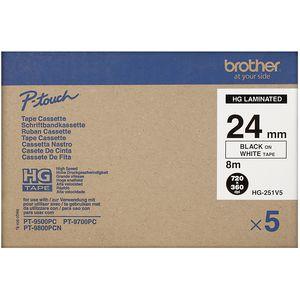 Brother HG-251V5 High Grade Tape 24mm Black on White 5 Pack