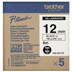 Brother High Grade Tape 12mm Black on Yellow 5 Pack HG-631V5