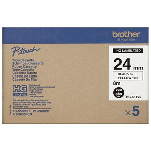 Brother High Grade Tape 24mm Black on Yellow 5 Pack HG-651V5