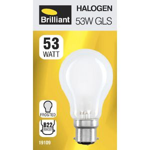 Brilliant Lighting 53W Halogen Globe BC Frosted