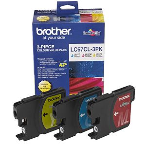 Brother LC-67 Tri-Colour Ink Cartridge Value Pack