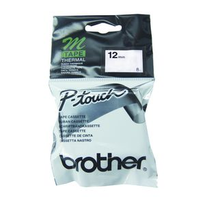 Brother Thermal M Tape 12mm x 8m Black on Silver