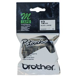 Brother Thermal M Tape 12 mm x 8 m Black on White