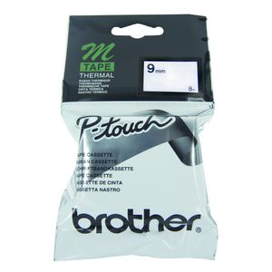 Brother Thermal M Tape 9mm x 8m Black on Silver