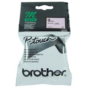 Brother Thermal M Tape 9mm x 8m Black on Pink