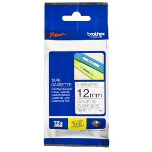 Brother Laminated Tape 12mm x 8m Black on Clear TZe-131