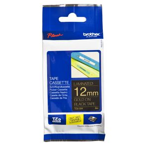 Brother Laminated Tape 12mm x 8m Gold on Black TZe-334