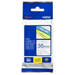 Brother Tape 36mm x 8m Blue on White TZe-263
