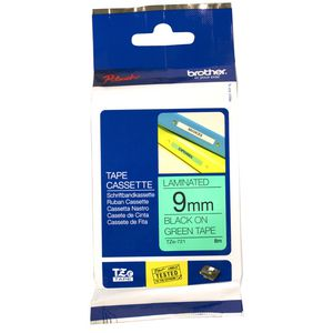Brother Tape 9mm x 8m Black on Green TZe-721