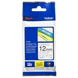 Brother Matte Tape 12mm x 8m Black on Clear TZe-M31