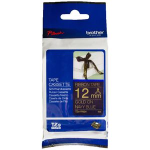 Brother Ribbon Tape 12mm x 4m Gold on Blue TZe-RN34