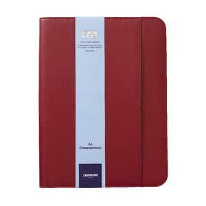 J.Burrows A4 Flat Compendium Zip Closure Red