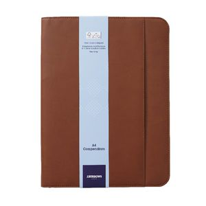J.Burrows A4 Flat Compendium Zip Closure Brown