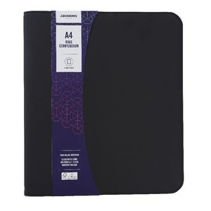 J.Burrows A4 4 Ring Compendium with Zip Black Canvas