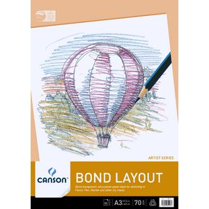 Canson A3 Bond Layout Paper Pad 70gsm 50 Sheet