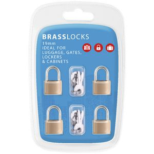 Brass Key Lock 19mm 4 Pack