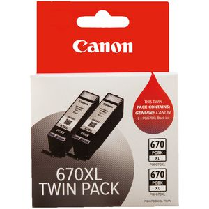 Canon 670XL Ink Cartridge Twin Pack Black