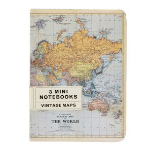 Cavallini Mini Notebook World Maps 3 Pack