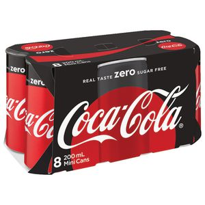 Coca-Cola Zero Mini Cans 200mL 8 Pack