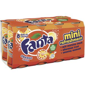 Fanta Mini Cans 200mL 8 Pack