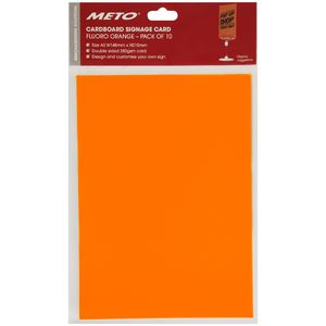 Meto A5 Sign Card Fluoro Orange 10 Pack