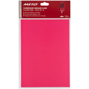 Meto A5 Sign Card Fluoro Pink 10 Pack