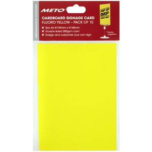 Meto A6 Sign Card Fluoro Yellow 10 Pack