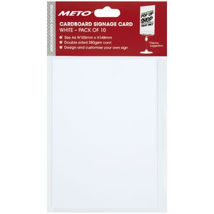 Meto A6 Sign Card White 10 Pack