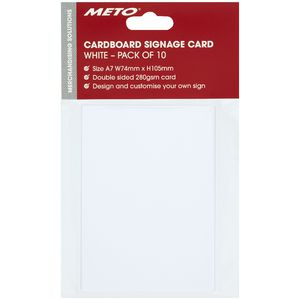 Meto A7 Sign Card White 5 Pack