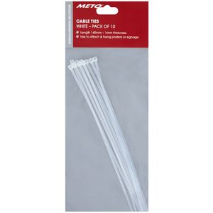 Meto Cable Ties Clear 10 Pack