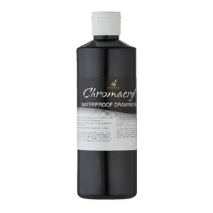 Chromacryl Waterproof Ink Black 500mL
