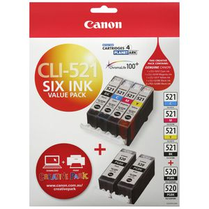 Canon CLI-521 and PGI-520 Ink Cartridge 6 Pack