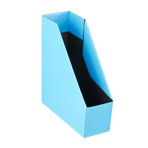 Collapsible Cardboard Magazine File Blue