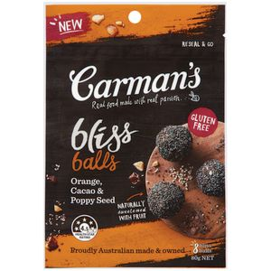 Carman's Bliss Balls Orange Cacao and Poppy Seed 80g