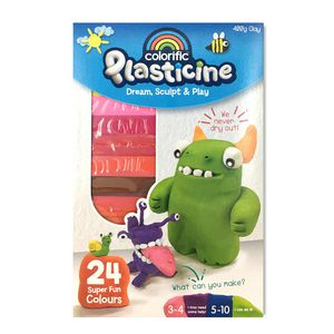 Plasticine Modelling Clay Bright Colours 24 Pack