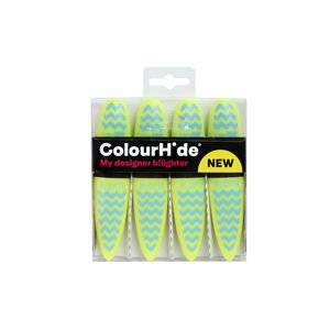 ColourHide Highlighters Yellow Chevron 4 Pack