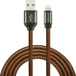 Comsol Premium Lightning to USB Cable Leather Look 1m Brown