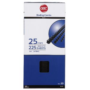 GBC Binding Comb 21 Loop Plastic 25mm Black 20 Pack