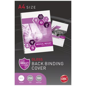 GBC A4 Binding Covers 250 Micron Gloss White 100 Pack
