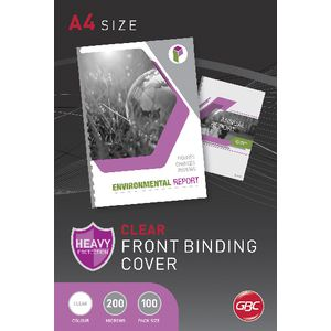 GBC A4 PVC Binding Covers 200 Micron Clear 100 Pack