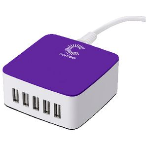 Comsol 5 Port Desktop USB Charger 8A/40W Purple