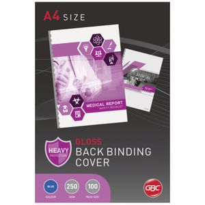 GBC A4 Binding Covers 250 Micron Gloss Blue 100 Pack