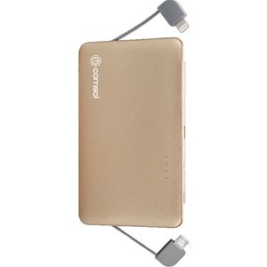 Comsol 3000mAh Integrated Lightning/Micro USB Powerbank Gold