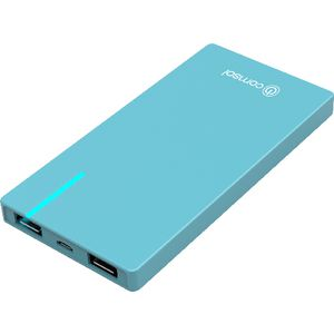 Comsol 6000mAh Slim Dual Port Powerbank Blue
