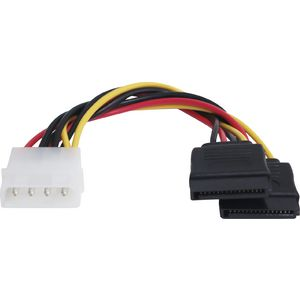 Comsol Male LP4 Female SATA 15 Pin Double Adaptor Cable