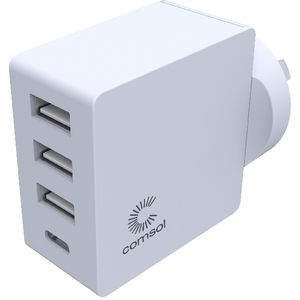 Comsol 4 Port USB Wall Charger with USB-C 24W White
