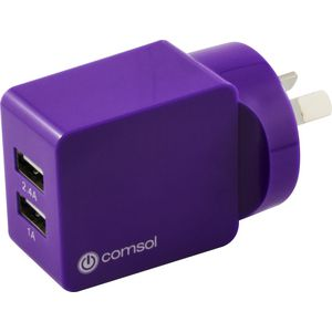 Comsol Dual Port USB Wall Charger 3.4A Purple