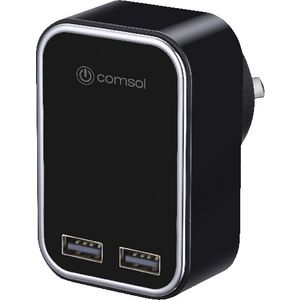 Comsol Dual Port USB 3.4A Wall Charger Black