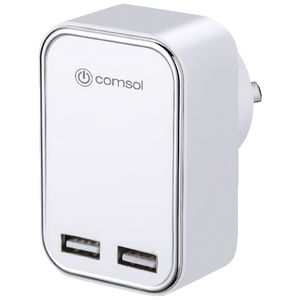 Comsol Dual Port USB Wall Charger 3.4A/17W White