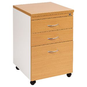 Velocity 3 Drawer Pedestal Golden Beech and White
